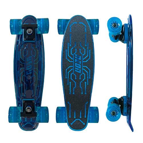 Mondo Toys 25238 – Skateboard mit Licht – Neon Hype – Blau – Stadtfahrt – Kinder ab 5 Jahren