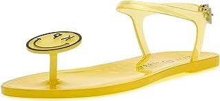 صندل مسطح للسيدات من Katy Perry مطبوع عليه صورة وجه مبتسم أصفر، 7