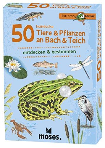 Moses 9761 Expedition Natur - 50 heimische Tiere und Pflanzen an Bach und Teich| Bestimmungskarten im Set | Mit spannenden Quizfragen