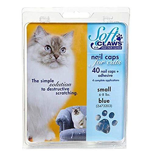 Soft Claws Kit de Protège-Griffes pour Chats Adultes Bleu - SMALL