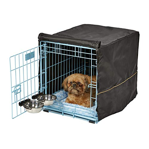 iCrate Dog Crate Starter Kit | 24-Inch Dog Crate Kit Ideal for Small Dog Breeds (weighing 13 - 25 Pounds) || Includes Dog Crate, Pet Bed, 2 Dog Bowls & Dog Crate Cover (Blue)