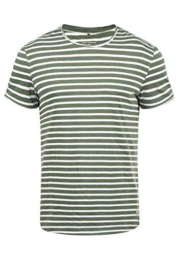 Blend Genesis Herren T-Shirt Kurzarm Shirt Streifenshirt Mit Streifen Und Rundhalsausschnitt, Größe:L, Farbe:Dusty Olive Green (77203)