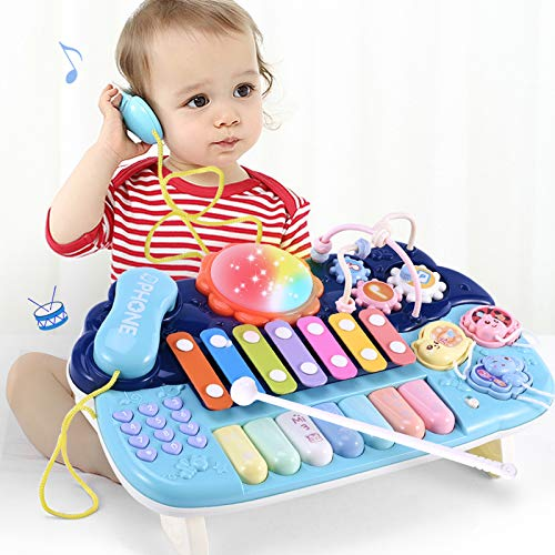 Kids Activity Table Interactive Learning Toy, Activity Center Musical Toys for Toddlers 1 2 3 Years Old Boys & Girls- Lighting & Sound Gifts