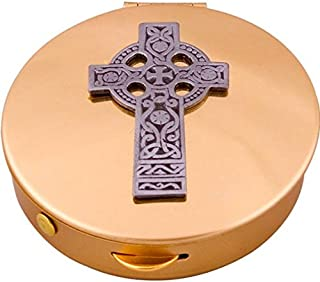Bronze Pyx with Celtic Cross & Lourdes Prayer Card