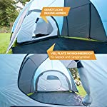 Skandika Hammerfest Family Dome Tent with 2 Sleeping Cabins, 200 cm Peak Height, Blue, 4-Person 8