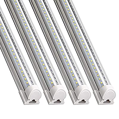 Barrina LED Shop Light, 8FT 72W 8500LM 5000K, Daylight White, V Shape, Clear Cover, Hight Output, Linkable Shop Lights, T8 LED Tube Lights, LED Shop Lights for Garage 8 Foot with Plug (Pack of 4)