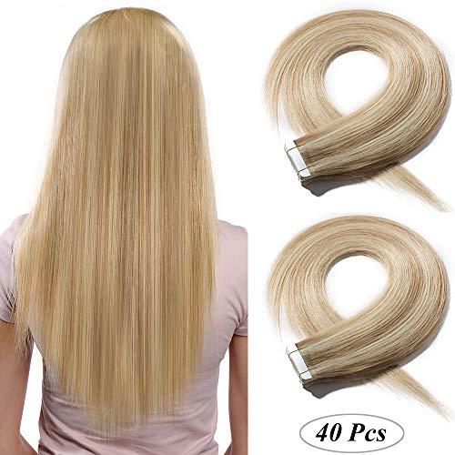 SEGO 40 PCS Extensions Adhesives Cheveux Naturels Bande Adhésif - 35CM 18P613#Ash Blond & Blond très Clair 80g (2g/Pièces) - Tie and Dye Ombre