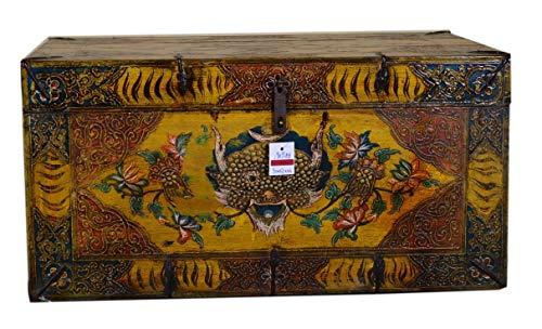 Fine Asianliving Chinesische Aufbewahrungskiste Orientalische Möbel Truhe Holztruhe Dekotisch Truhenbank Massiv Holz Groß Deckel Couchtisch Tischtruhe Sitztruhe Truhe Antik 90 x 57 x 46cm
