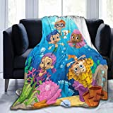 GIPHOJO Bubble Guppies Ultra-Soft Micro Fleece Blanket Throw Fuzzy Lightweight Hypoallergenic Plush for Kids Boys Girls Adults 3D Fashion Print Blanket Perfect for Couch, Sofa, Bed, Black 50' x40