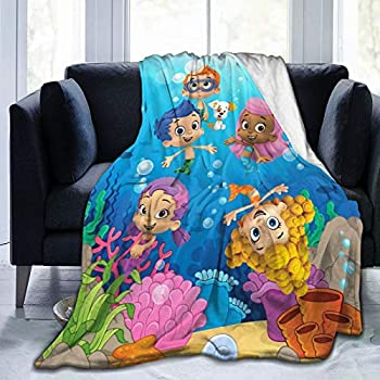GIPHOJO Bubble Guppies Ultra-Soft Micro Fleece Blanket Throw Fuzzy Lightweight Hypoallergenic Plush for Kids Boys Girls Adults 3D Fashion Print Blanket Perfect for Couch Sofa Bed Black 50  x40