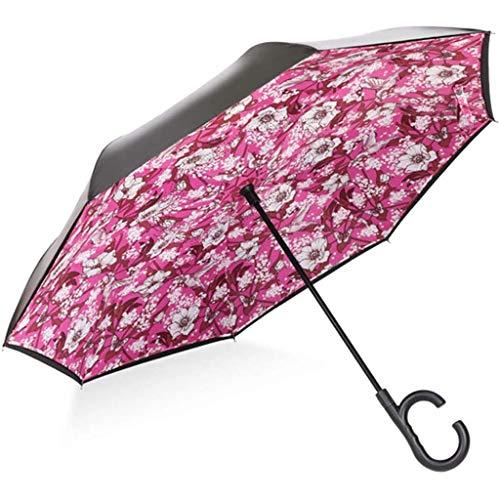 Reverse Umbrella Double-Layer Umbrella Face-Vrij Lange Handle Double Car Met Anti-Drip Reversal Paraplu Voor Drukke Grootstedelijke Leven of Op Het Sportveld