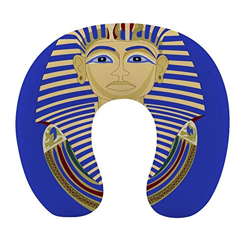 Cómodo y Transpirable Rey Faraón Tutankamón Egipto TUT Almohada egipcia para el Cuello Almohada de Viaje en Forma de U de Espuma viscoelástica Suave para avión Oficina en casa Coche