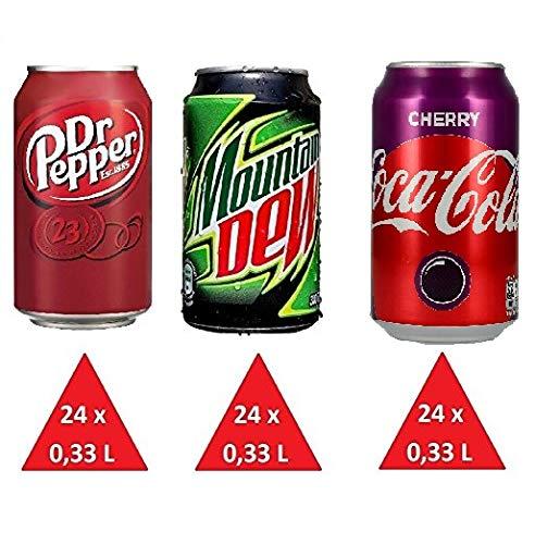 Coca Cola Cherry, Mountain Dew Classic & Dr. Pepper Classic je 24 x 0,33l Dose XXL-Paket (72 Dosen gesamt)