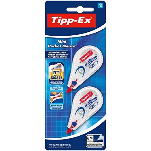 Tipp-Ex Korrekturroller Mini Pocket Mouse, 6m x 5mm, 2er Pack, Ideal für das Büro, das Home Office oder die Schule