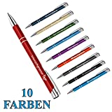 polar-effekt 10 Stück Metall Oleg Kugelschreiber mit Gravur des Namens - Personalisierte Geschenkidee zum Valentinstag Mitbringsel - blau schreibend - Farbe rot