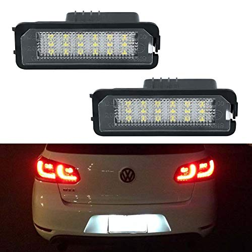 License Plate Light, GemPro LED License Plate Lamp Assembly For Volkswagen VW Golf 4 5 6 GTi CC Rabbit Eos Beetle Porsche Boxster Cayman Cayenne Carrera , Powered by 18SMD Xenon White LED Lights-2pcs