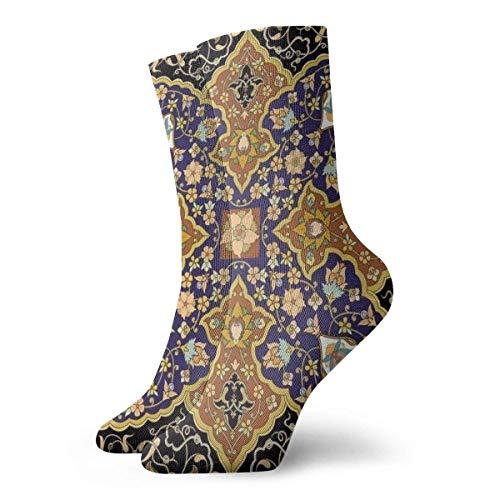 Tommy Warren Calcetines Hasta La Pantorrilla,Patrones de mosaicos florales árabes Impresión de ilustraciones otomanas orientales antiguas del sudeste,Calcetines Cortos Calcetines Deportivos
