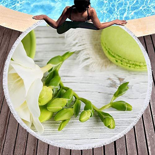 Vioyo Strandhanddoek, rond, microvezel, voor volwassenen, 3D-print, strand, zomer, yogamat