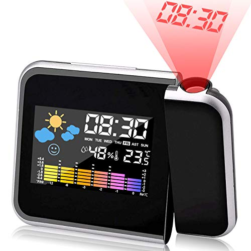 KIPIDA Wecker mit Projektion, LED Projektionswecker Projektion Digital Wecker USB-Aufladung/LCD Displaybeleuchtung/ 180 ° Projektion/Temperaturanzeige/Hygrometer/Uhrzeit Datumsanzeige