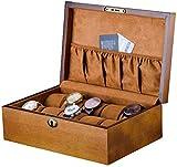 NBVCX Inicio Accesorios Caja de Reloj con Almohadas Suaves 10 Ranuras Exhibidor de joyería Estuche de Almacenamiento Organizador de Pulsera de Madera para Hombres/Mujeres