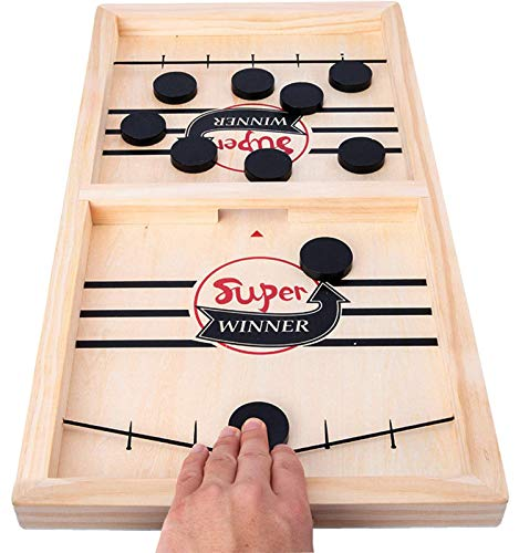 moopok Fast Sling Puck Game,Wooden Hockey Game Sling Puck,Super Winner Game.Desktop Battle Wooden Sling Hockey Table Game,Adults and Kids Family Games.Slingshot Game Toys.Foosball Winner Board Game
