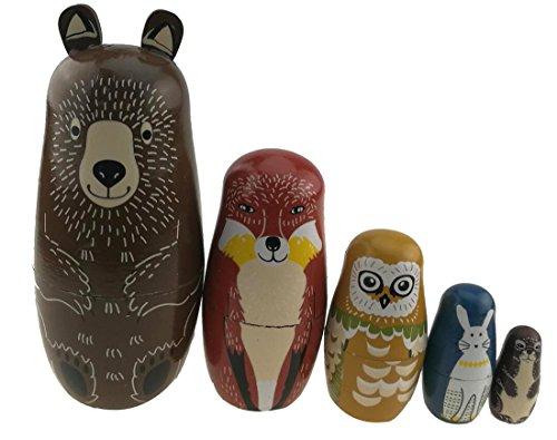 5er Set Glänzende russische Puppe Bär Fuchs Eule Kaninchen Maulwurf Handarbeit Puppe Entwickelt Fähigkeiten Geschenk für Jungen Mädchen Weihnachten Geschenkidee