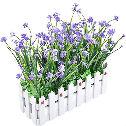 XONOR Plantas artificiales resistentes a los rayos UV con maceta para casa, oficina, interior, exterior, jardín, boda, decoración (morado)