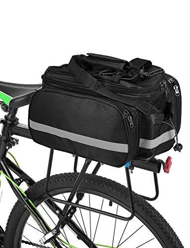 ZHTY Bicicleta Asiento Trasero Bolsa Multifunción Impermeable MTB Bicicleta Alforja Bolsa Bicicleta Rack Bolsa con Cubierta De Lluvia