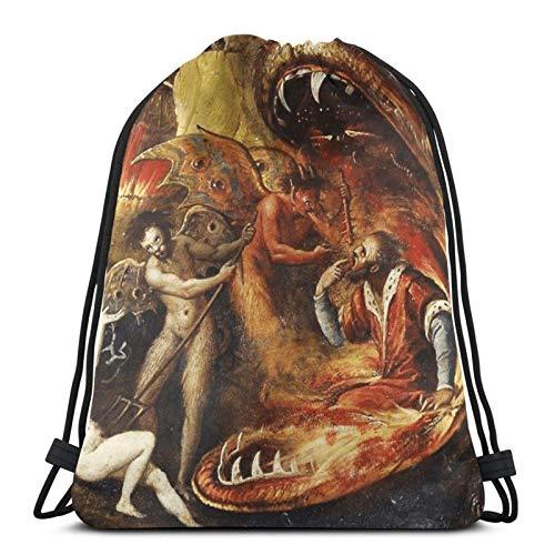 XCNGG Bolsa de Gimnasia Bolsa con cordón Bolsa de Viaje Bolsa de Deporte Mochila Escolar MochilaDrawstring Bag An Insight Into Hell with Demons Tapestry Training Gymsack