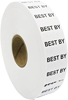 Amram 1 Line Price Marking Labels, White/Black Best by, 1 Sleeve of 20,000 Labels (8 Rolls, 2,500 Labels Per Roll) for Monarch 1131. Includes 1 Replacement Ink Roller.
