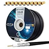 HB-DIGITAL 100m 135dB Cable SAT coaxial 5 veces blindado Negro para sistemas Ultra HD 4K DVB-S / S2 DVB-C y DVB-T BK + 10 juegos de enchufes F bañados en oro Gratis