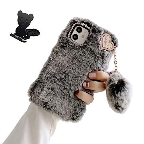 Ostop Funda Felpa Compatible con Samsung Galaxy A32 Carcasa Conejo Piel Artificial Linda Suave Peluda Fluffy Cálido Invierno Caso para Muchachas con Bola Colgante Corazón de Amor,Gris Oscuro