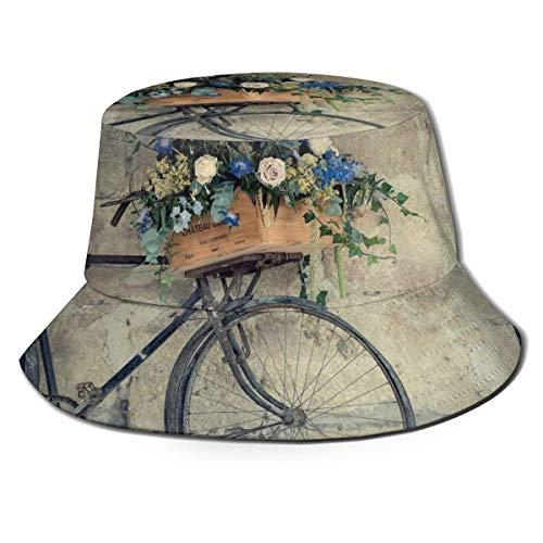Bucket Hat Bicicleta Vintage Plegable Reversible con una Canasta de Flores Imprimir...