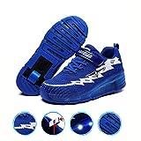 WXBYDX Enfants LED Chaussures à Skates avec Roues LED Clignotante Baskets Mode Coloré Lumineux Patins à roulettes Multisports Outdoor Chaussures De Skateboard pour Unisex ,Taille (29-41)