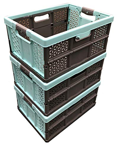 3 x 32 Litre Extra Strong Folding Plastic Stacking Storage Crates Box -...
