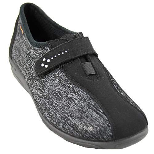 Doctor Cutillas 3686 - Zapatos de Señora con Licra Lateral Plantilla con Memoria Pequeña Cuña en Negro y Plomo - 38, Negre