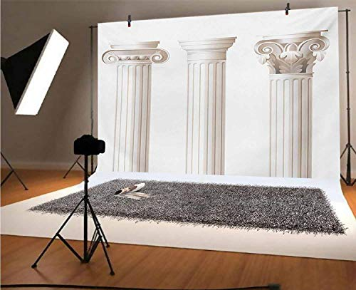 Pillar 10x8 FT Vinyl Photo Backdrops,Architecture Themed Design Ionic Doric and Corinthian Marble Columns Digital Print Background for Selfie Birthday Party Pictures Photo Booth Shoot