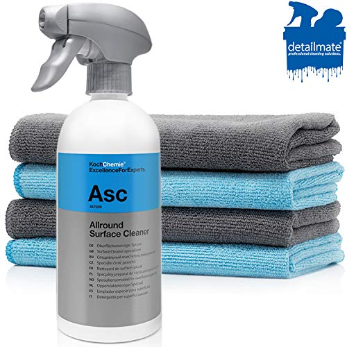 detailmate Auto Reinigung Set: Koch Chemie - ASC - All Surface Cleaner - 500 ml - Reiniger für alle Oberflächen - Glatte Oberflächen, Edelstahl, Kunststoffe, Leder. + 4 Premium Mikrofasertücher