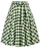 Jupe Taille Haute Longue avec Ceinture Fixe Style Plissé a Carreaux Vert Taille S BPE2205-1