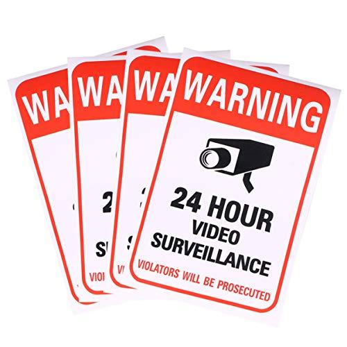 STOBOK vedio etiqueta autoadhesiva 24 horas etiqueta de la ventana de la puerta señal de advertencia videovigilancia etiqueta horas 10pcs 24 para oficina de la escuela patio interior al aire libre