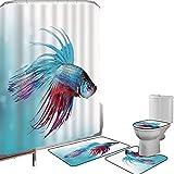 Juego de cortinas baño Accesorios baño alfombras Acuario Alfombrilla baño Alfombra contorno Cubierta del inodoro Pez Betta luchador siamés Nadar en acuario Animal marino agresivo Decorativo,Azul cielo