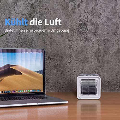 Newentor Klimaanlage Mobil, Mini Persönliches Klimageräte, 3 in 1 Luftkühler, Ventilator, Luftbefeuchter, Air Cooler für Schlafzimmer Wohnzimmer Büro Reise