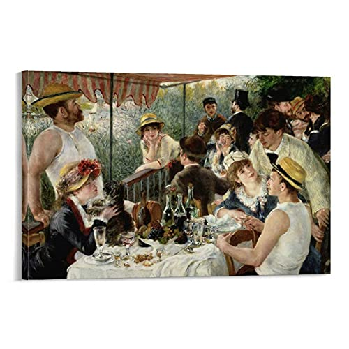 HUHUAN Pintura al óleo clásica Pierre Auguste Renoir - Póster de canoa para almuerzo (50 x 75 cm)