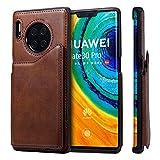 Conber Cover per Huawei Mate 30 Pro, Custodia in Pelle PU, [Slot Carte] Antiurto Flip Case Portafoglio Protettiva Custodia per Huawei Mate 30 Pro - Caffè