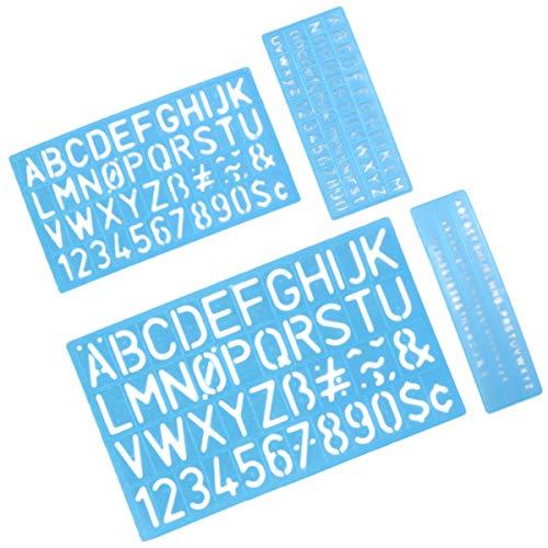 Toyandona 4 Sets englische Buchstaben-Vorlage Symbol Digitale Vorlage Briefvorlage für Scrapbook Geschenkkarte