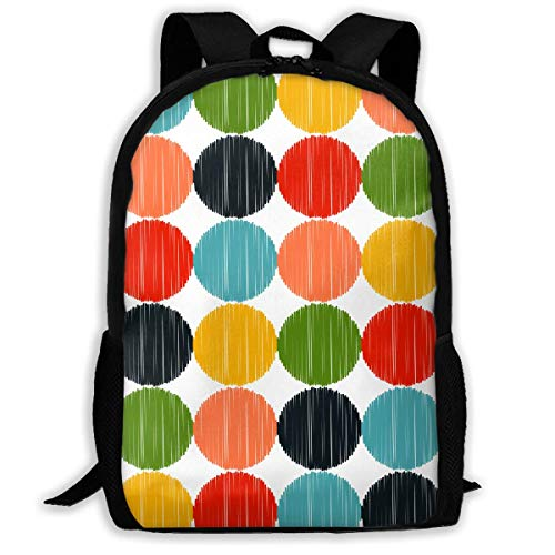 "Color Ball Wave Point Hand-Drawn Printed School Backpack Water Resistant Travel Rucksack Bag Laptop Lightweight Backpack Daypack,17"" Mochila Escolar"