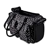 Fashion Dog Carrier Cat Carrier Rabbit Carrier- Soft Sided Pet Carrier Purse Bag - Breathable Mesh Airline Approved Pets Travel Tote Bag with Pockets (Black Polka dot)