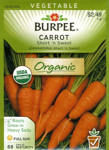 Burpee 67545 Organic Carrot Short n' Sweet Seed Packet