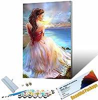 くDIY油絵キット 美しい少女por DIYペイント番号キット キッズバースデーギフト 30x45cm フレームレス