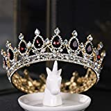 Campsis Rhinestone Bride Baroque Crown Vintage Wedding Tiaras Crystal Bridal Jewelry Hair Accessories Beauty Queen Crown for Women and Girls.